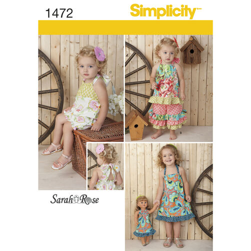 Simplicity Pattern 1472 Toddler's Sportswear with Matching 18 inch Doll Dress