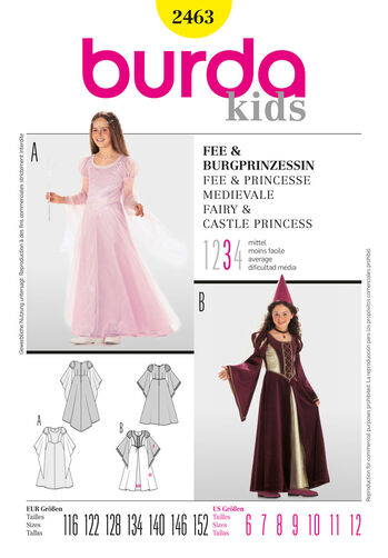 Burda Style Pattern 2463 Fairy & Castle Princess