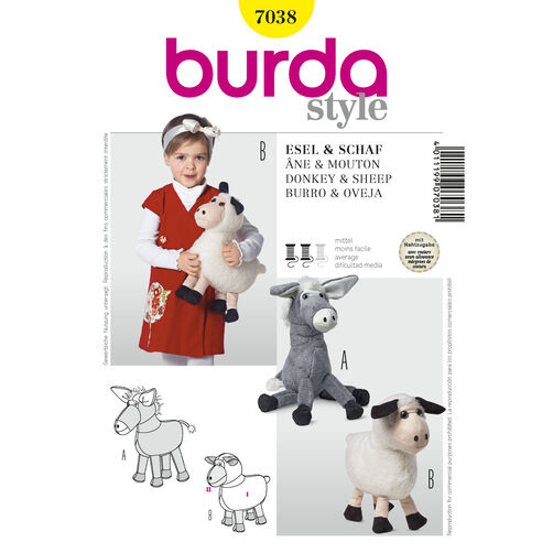 Burda Style Pattern 7038 Donkey & Sheep