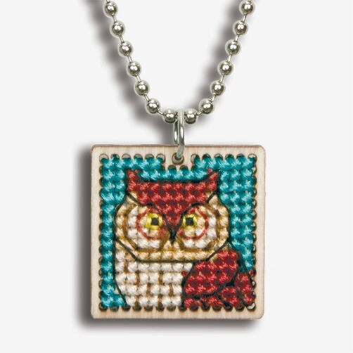 Small Owl Finished Pendant, Counted Cross Stitch_72-74089