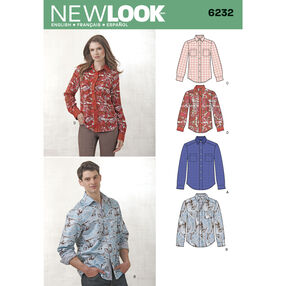New Look Pattern 6232 Misses' and Men's Button Down Shirt