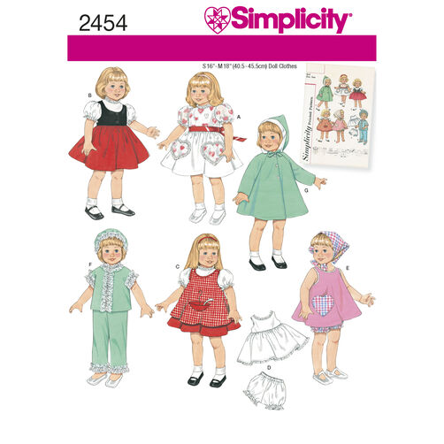 "Simplicity Pattern 2454 Vintage 16"" and 18"" Doll Clothes"