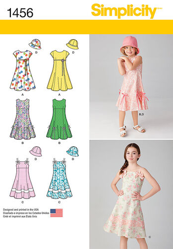 Child's and Girls' Dress with Bodice Variations and Hat