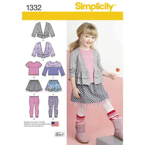Simplicity Pattern 1332 Child's Skirt, Knit Leggings, Top and Cardigan