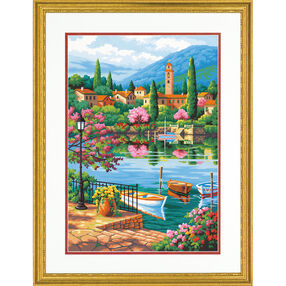 Village Lake Afternoon, Paint by Number_73-91661