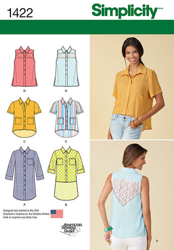Misses' Button Up Mini-Dress or Shirt with Variations