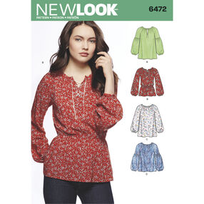 New Look Pattern 6472 Misses' Boho Blouses