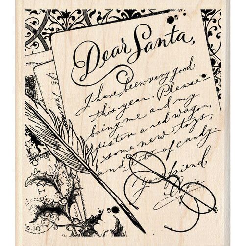 Dear Santa Letter Wood Stamp_60-00946