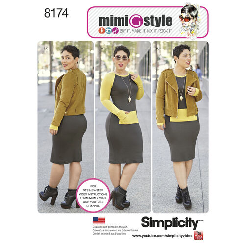 Pattern 8174 Misses' Lined Jacket and Knit Dress from Mimi G Style