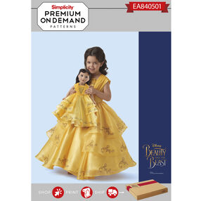 "Simplicity Pattern EA840501 Premium Print on Demand Child & 18"" Doll Disney Live Action Belle Costume"