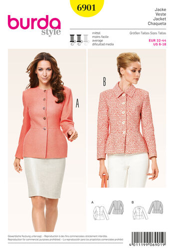 Burda Style Pattern 6901 Jackets, Coats, Vests