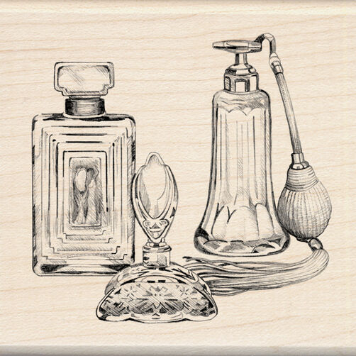 Antique Perfume Bottles Wood Stamp_60-00876
