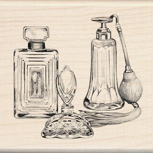 Antique Perfume Bottles Wood Stamp_60-00876