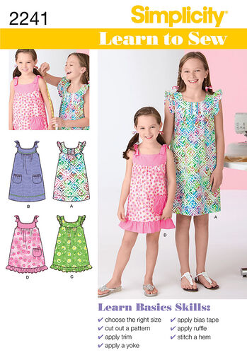 Simplicity Pattern 2241 Learn to Sew Child's & Girl's Dresses