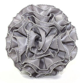 Gray Chain Edge Ruffle Rose Pin & Clip Flower_56-63066