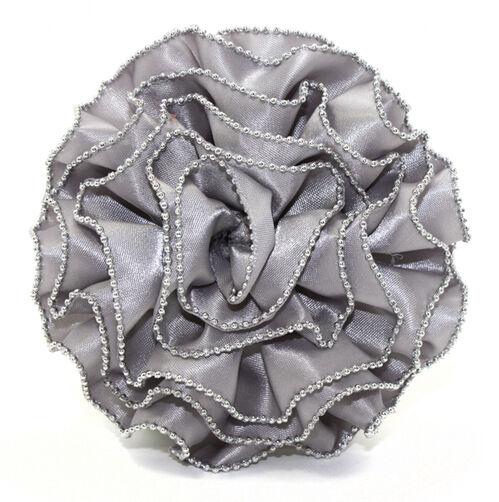 Gray Chain Edge Ruffle Rose Pin & Clip Flower_56-63066