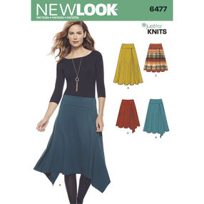 New Look Pattern 6477 Misses' Knit Skirts in Varying Lengths