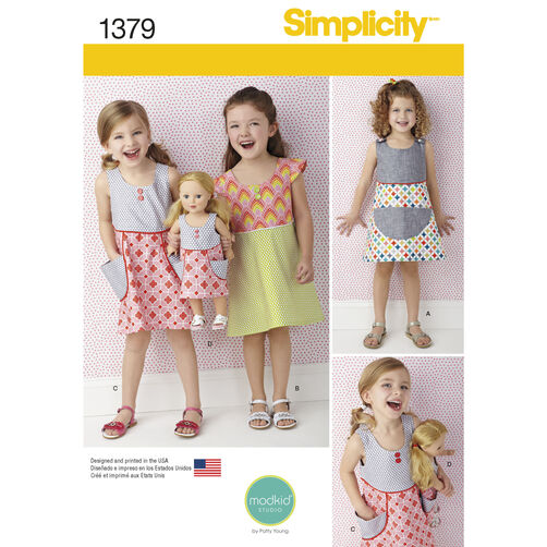 "Simplicity Pattern 1379 Dress for Child and 18"" Doll"