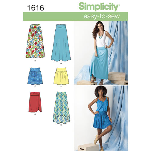 Simplicity Pattern 1616 Misses' Knit or Woven Skirts