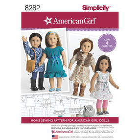 "Simplicity Pattern 8282 American Girl 18"" Doll Clothes"
