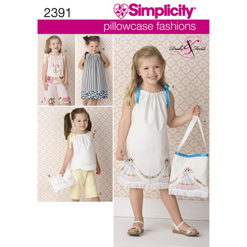 Simplicity Pattern 2391 Child's Vintage Pillow Case Fashion