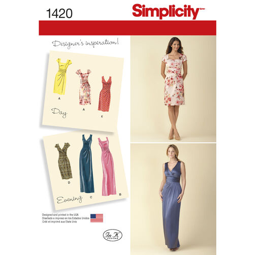 Simplicity Pattern 1420 Misses' Dress in Two Lengths with Bodice Variations