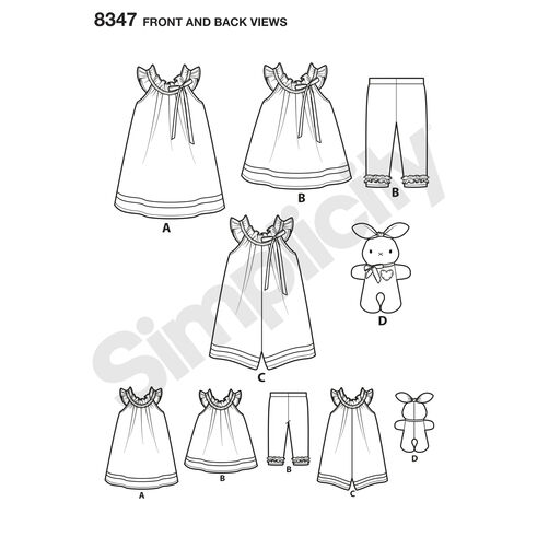 Simplicity Pattern 8347 Toddlers' Dress, Top, Knit Capris