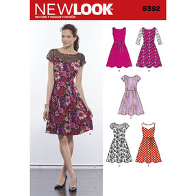 New Look Pattern 6392 Misses' Dresses with Contrast Fabric Options