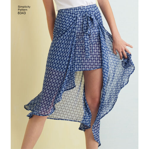 Simplicity Pattern 8343 Misses Wrap Front Skirt And Shorts