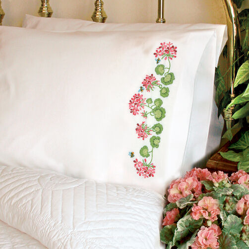 Summer Geraniums Pillow Cases, Stamped Cross Stitch_72-73887