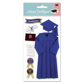 Cap and Gown Stickers Blue_SPJBLG106