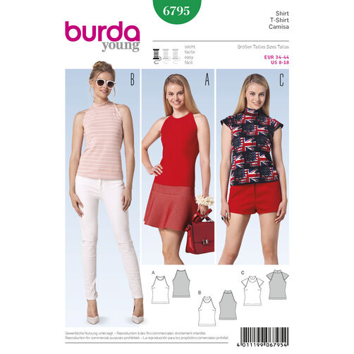 Burda Style Pattern 6795 Tops, Shirts, Blouses