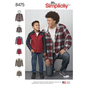 Simplicity Pattern 8475 Men's and Boy's Shirt Jacket