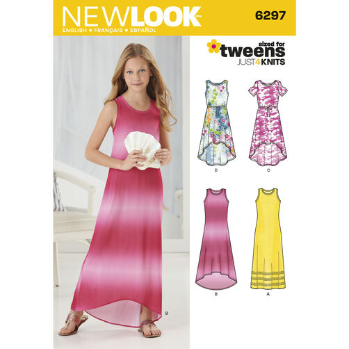 New Look Pattern 6297 Girls' Knit Dress