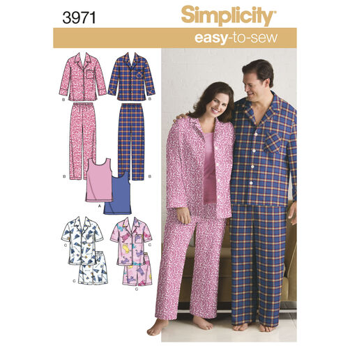 Simplicity Pattern 3971 Women's & Men's Plus Size Sleepwear