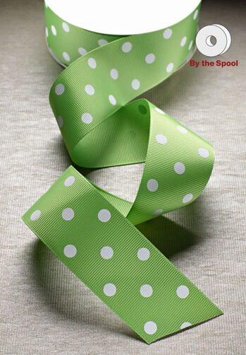 "1-1/2"" Wide Grosgrain Polka Dot Ribbon, 10 yds"