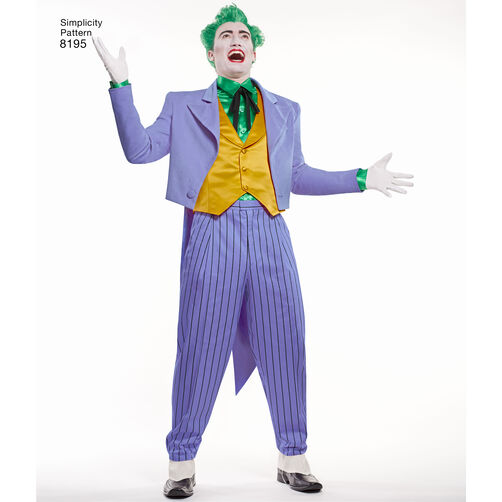 pattern 8195 mens dc comics joker costume