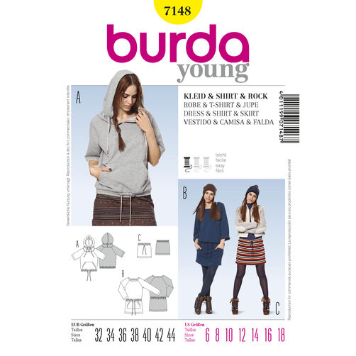Burda Style Pattern 7148 Dress & Shirt & Skirt