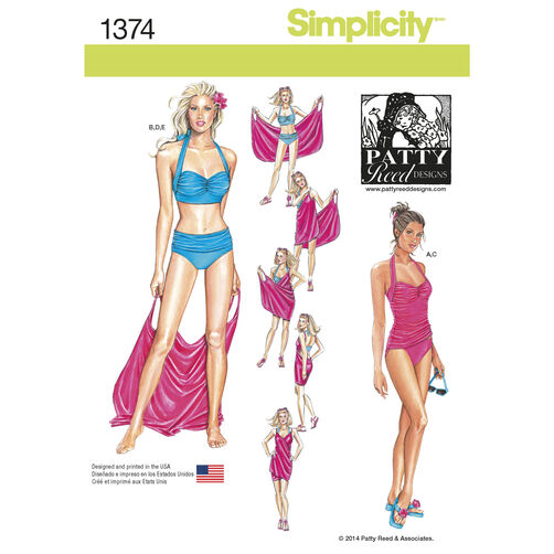 Simplicity Pattern 1374 Misses' Two-Piece Swimsuit & Beach Cover-Up