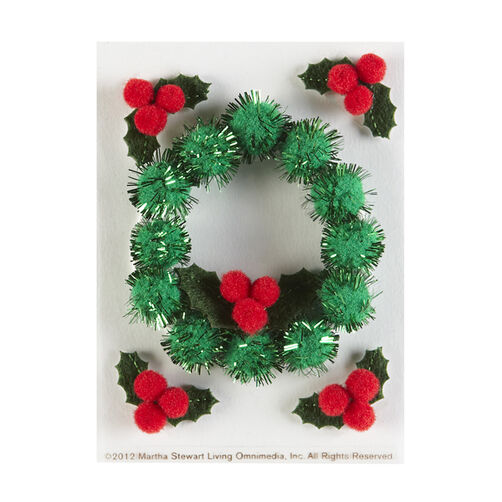 Dimensional Holly And Wreath Embellishments_48-30197