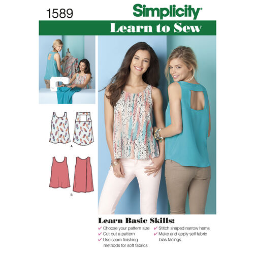 Simplicity Pattern 1589 Misses' Learn to Sew Tops