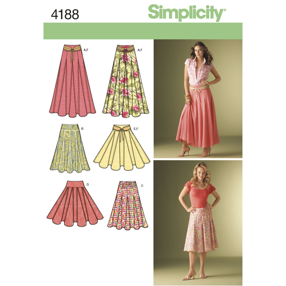 Pattern For Misses Skirts Simplicity