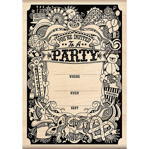 Pattern Party Invite Wood Stamp_60-00959