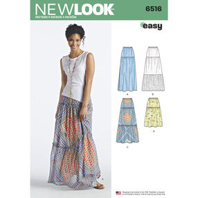 New Look Pattern 6516 Misses' Skirts with Length and Fabric Variations