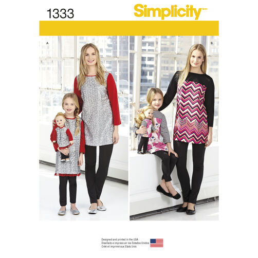 Simplicity Pattern 1333 Child's, Misses' and 18 inch Doll Tunics and Leggings