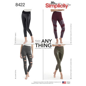 Pattern 8422 Misses' Knit Leggings with Front Variations