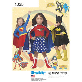 Simplicity Pattern 1035 Child's Wonder Woman, Supergirl & Batgirl Costumes