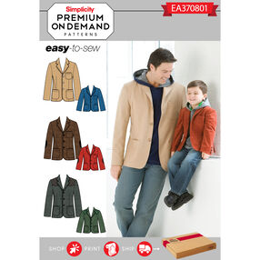Simplicity Pattern EA370801 Premium Print on Demand Men's/Boys' Jacket