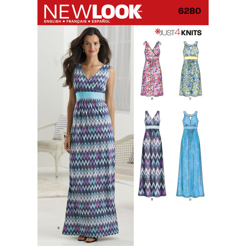 New Look Pattern 6280 Misses' Knit Dress in Two Lengths with Bodice Variations