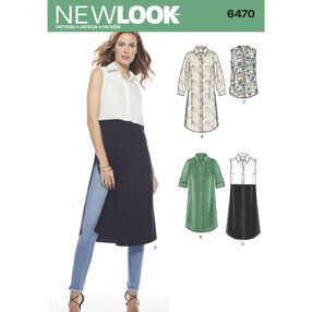 New Look Pattern 6470 Misses' Shirt Dress or Tunics with Length Variations